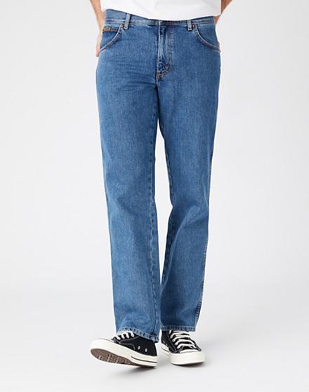 Wrangler Texas Jeans Stonewash Blue Men/'s New Regular Straight Fit Denim