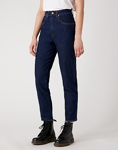 Mom Jeans in Dark Blue