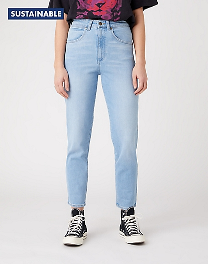 Mom Jeans in Clear Blue