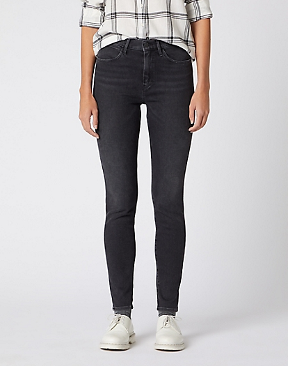High Rise Skinny Jeans in Black Sea