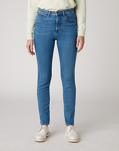 High Rise Skinny Jeans in Pool Blue