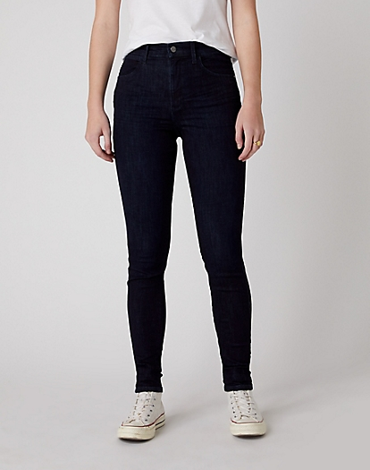 High Skinny Jeans in Blue Black