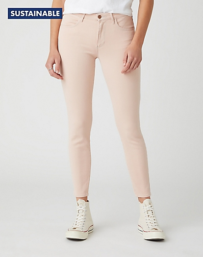 Skinny Crop Pants in Natural Pink