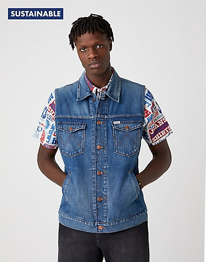 Denim Vest in De-Lite Blue