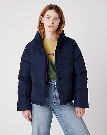 Short Puffer Jacket in Navy