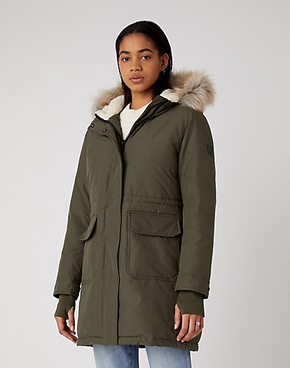 Long Parka in Utility Green