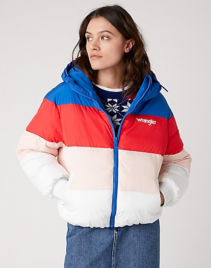 Rainbow Puffer Jacket in Wrangler Blue