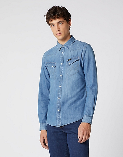 Western Denim Shirt in Indigo