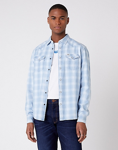 Long Sleeve Western Shirt in Light Indigo