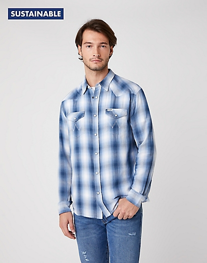 Western Shirt in Cerulean Blue