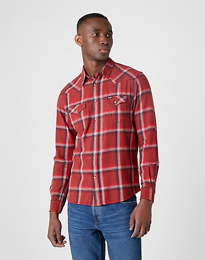Western Shirt in Rusty Brown