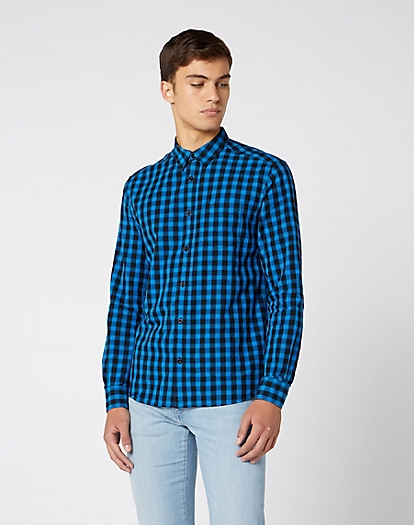 Long Sleeve One Pocket Shirt in Directoire Blue