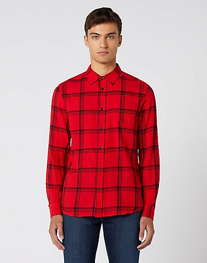 Long Sleeve One Pocket Shirt in Formula Red