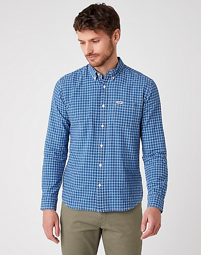Long Sleeve One Pocket Shirt in Indigo