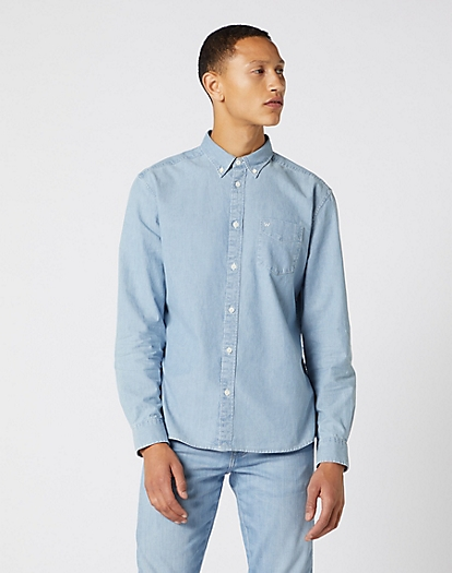 Long Sleeve One Pocket Button Down Shirt in Indigo