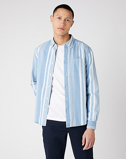 Long Sleeve One Pocket Button Down Shirt in Light Indigo
