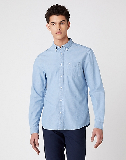 W5A3 Long Sleeve One Pocket Shirt EXISTING in Light Indigo