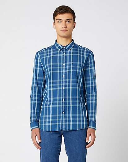 Long Sleeve One Pocket Button Down Shirt in Blue Topaz