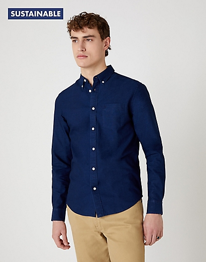 W5A3 Long Sleeve One Pocket Shirt EXISTING in Indigo