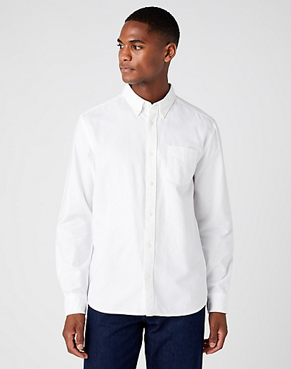 Long Sleeve One Pocket Button Down Shirt in White