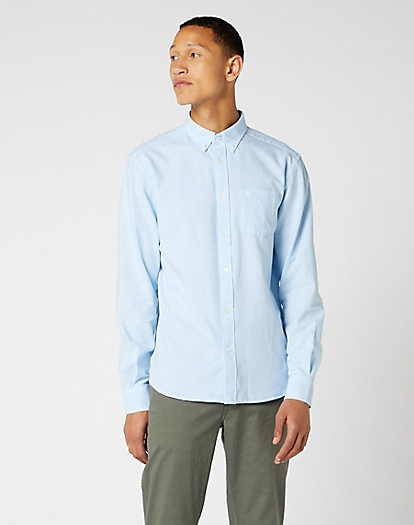 W5A3 Long Sleeve One Pocket Shirt EXISTING in Cerulean Blue