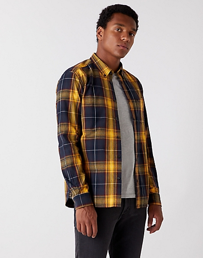 Long Sleeve One Pocket Shirt in Spruce Yellow