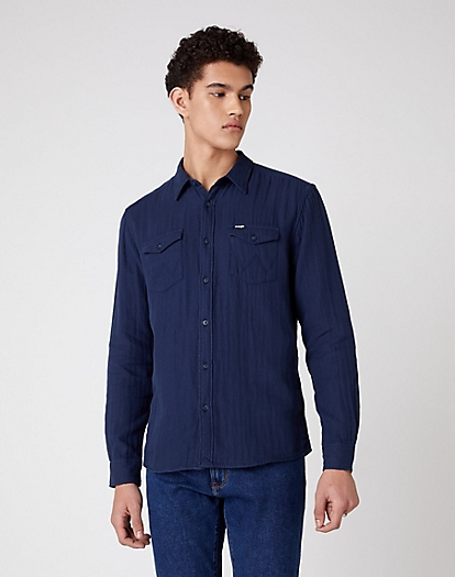 Two Pocket Flap Shirt in Navy