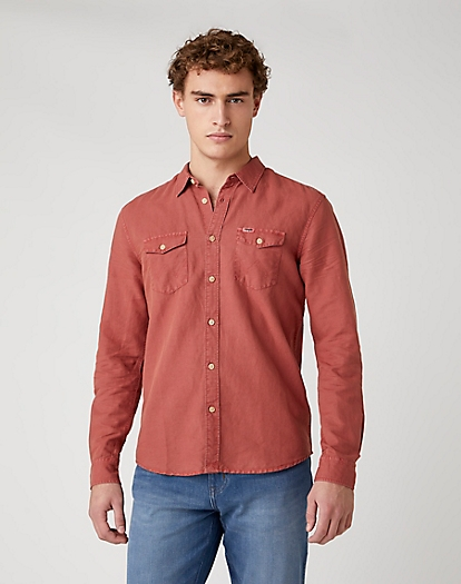 Two Pocket Flap Shirt in Barn Red