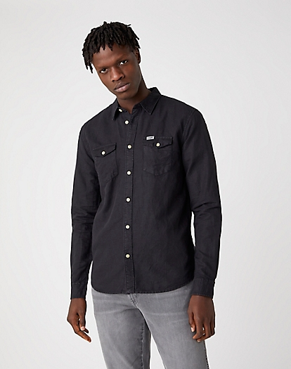 Two Pocket Flap Shirt in Faded Black
