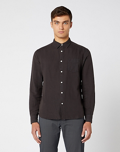 Long Sleeve One Pocket Shirt in Faded Black