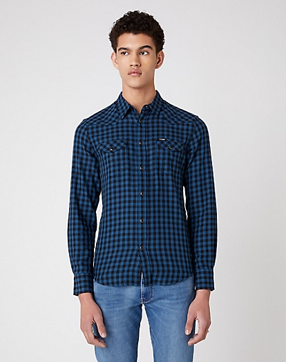 Longsleeve Western Shirt in Dark Blue Teal