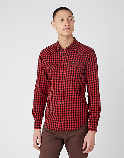 Longsleeve Western Shirt in Mars Red