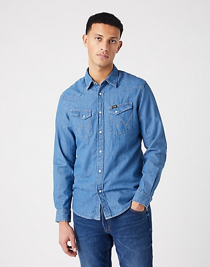Long Sleeve Western Shirt in Mid Stone