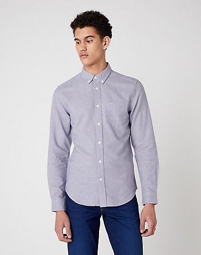 Long Sleeve One Pocket Button Down Shirt in Lunar Rock Grey