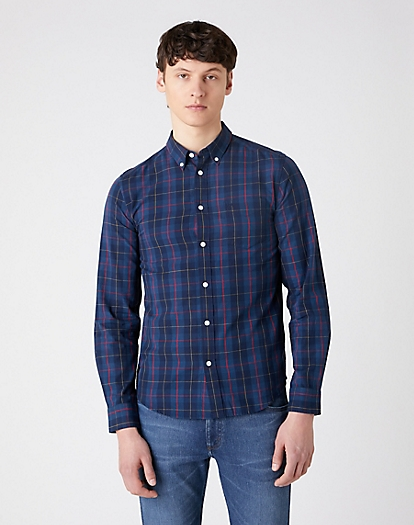 Long Sleeve One Pocket Button Down Shirt in Dark Blue Teal