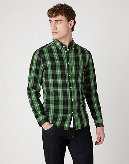 Long Sleeve One Pocket Button Down Shirt in Artichoke Green