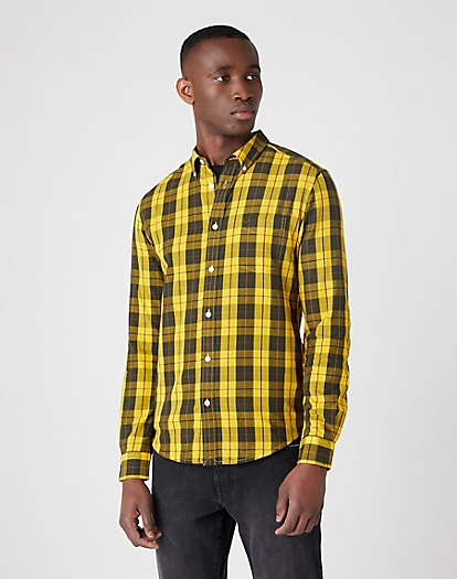 Long Sleeve One Pocket Button Down Shirt in Golden Rod