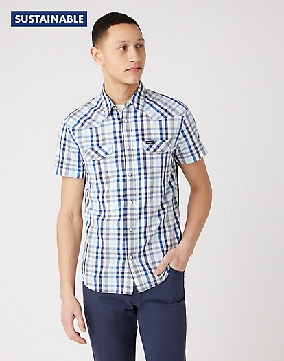 Short Sleeve Western Shirt in Limoges Blue