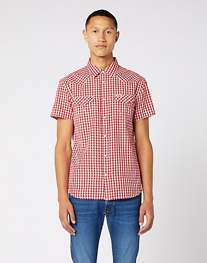 Short Sleeve Western Shirt in Tomato