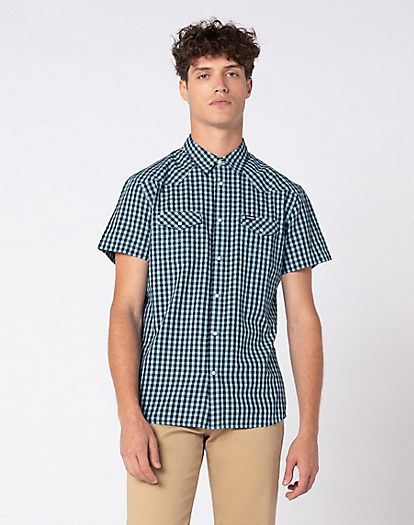 Short Sleeve Western Shirt in Parisian Blue