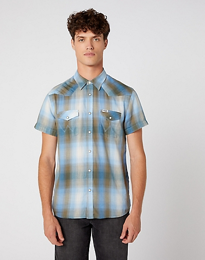Short Sleeve Western Shirt in Dusty Olive