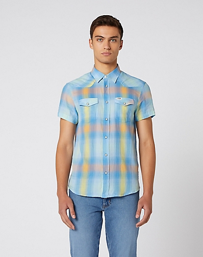 Short Sleeve Western Shirt in Dragon Yellow