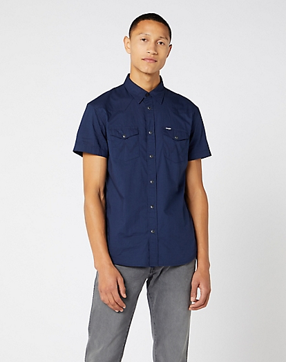 Short Sleeve Western Shirt in Navy