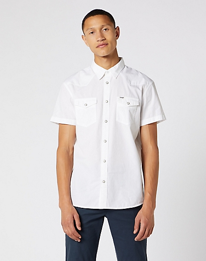 Short Sleeve Western Shirt in White