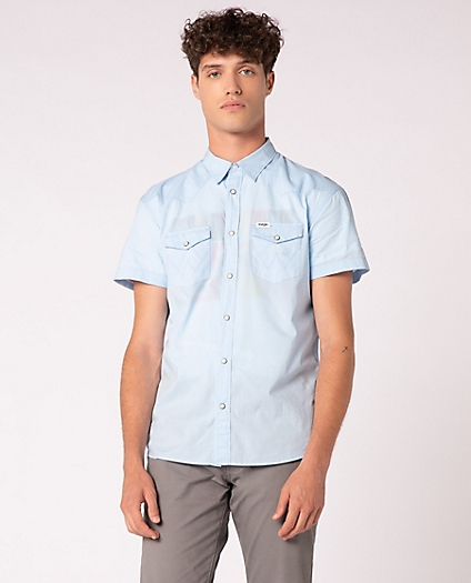 Short Sleeve Western Shirt in Cerulean Blue