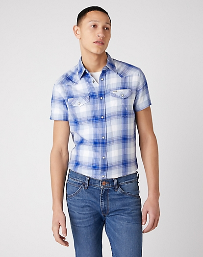 Short Sleeve Western Shirt in Surf Blue