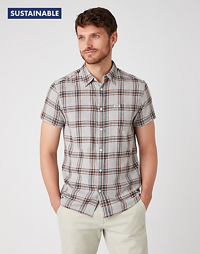 Short Sleeve One Pocket Shirt in Tornado Grey