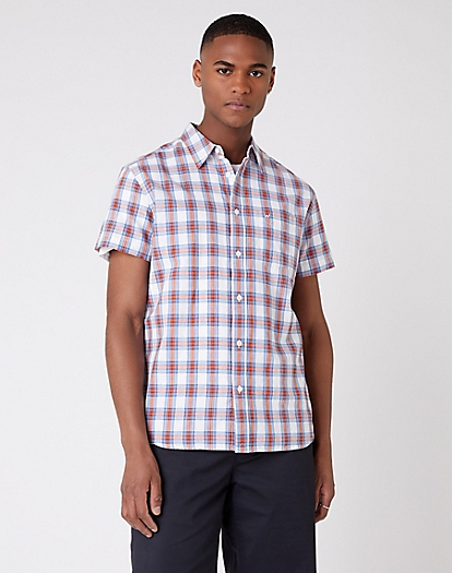 Short Sleeve One Pocket Button Down Shirt in White