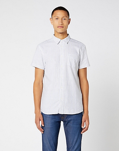 Short Sleeve One Pocket Shirt in Real White