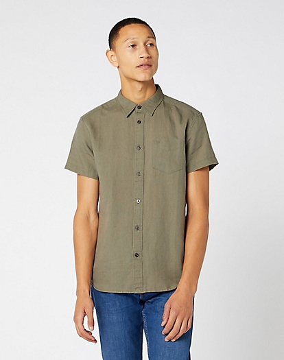 Short Sleeve One Pocket Shirt in Dusty Olive